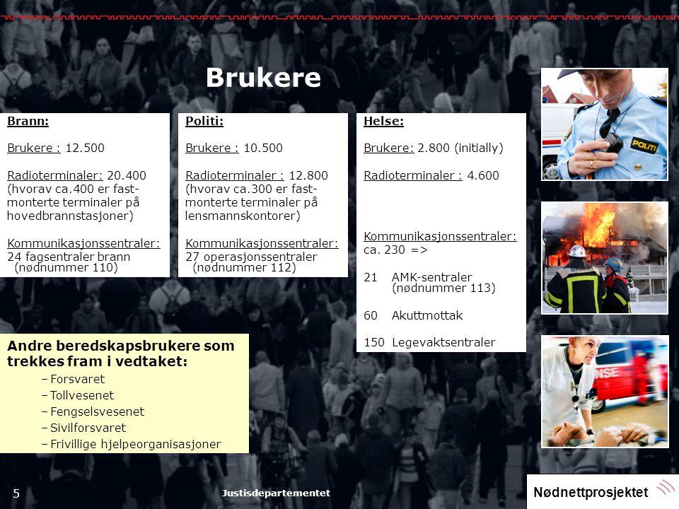 Nødnettprosjektet 5 Justisdepartementet Brukere Brann: Brukere : 12.500 Radioterminaler: 20.400 (hvorav ca.400 er fast- monterte terminaler på hovedbr