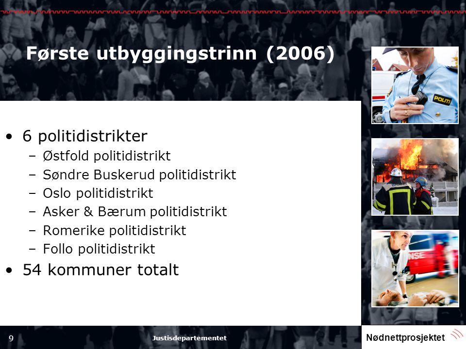 Nødnettprosjektet 9 Justisdepartementet Første utbyggingstrinn (2006) •6 politidistrikter –Østfold politidistrikt –Søndre Buskerud politidistrikt –Osl