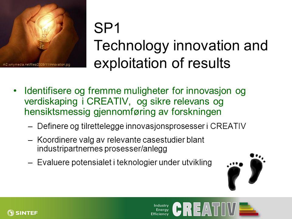 SP1 Technology innovation and exploitation of results •Identifisere og fremme muligheter for innovasjon og verdiskaping i CREATIV, og sikre relevans o