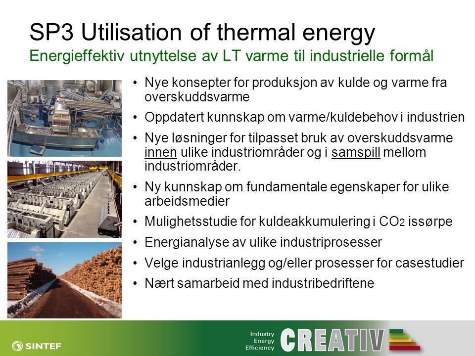 SP3 Utilisation of thermal energy Energieffektiv utnyttelse av LT varme til industrielle formål •Nye konsepter for produksjon av kulde og varme fra ov