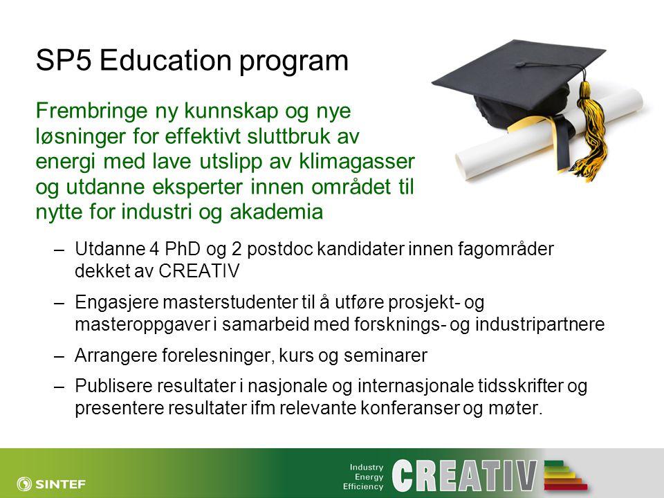 SP5 Education program Frembringe ny kunnskap og nye løsninger for effektivt sluttbruk av energi med lave utslipp av klimagasser og utdanne eksperter i