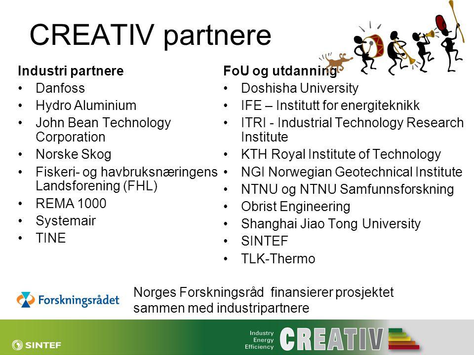 CREATIV partnere Industri partnere •Danfoss •Hydro Aluminium •John Bean Technology Corporation •Norske Skog •Fiskeri- og havbruksnæringens Landsforeni