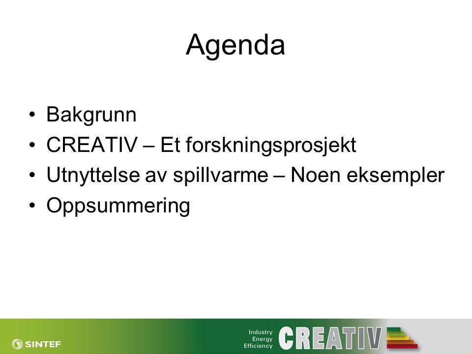 Agenda •Bakgrunn •CREATIV – Et forskningsprosjekt •Utnyttelse av spillvarme – Noen eksempler •Oppsummering