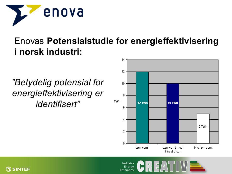 """""""Betydelig potensial for energieffektivisering er identifisert"""" Enovas Potensialstudie for energieffektivisering i norsk industri: 12 TWh 10 TWh 5 TWh"""
