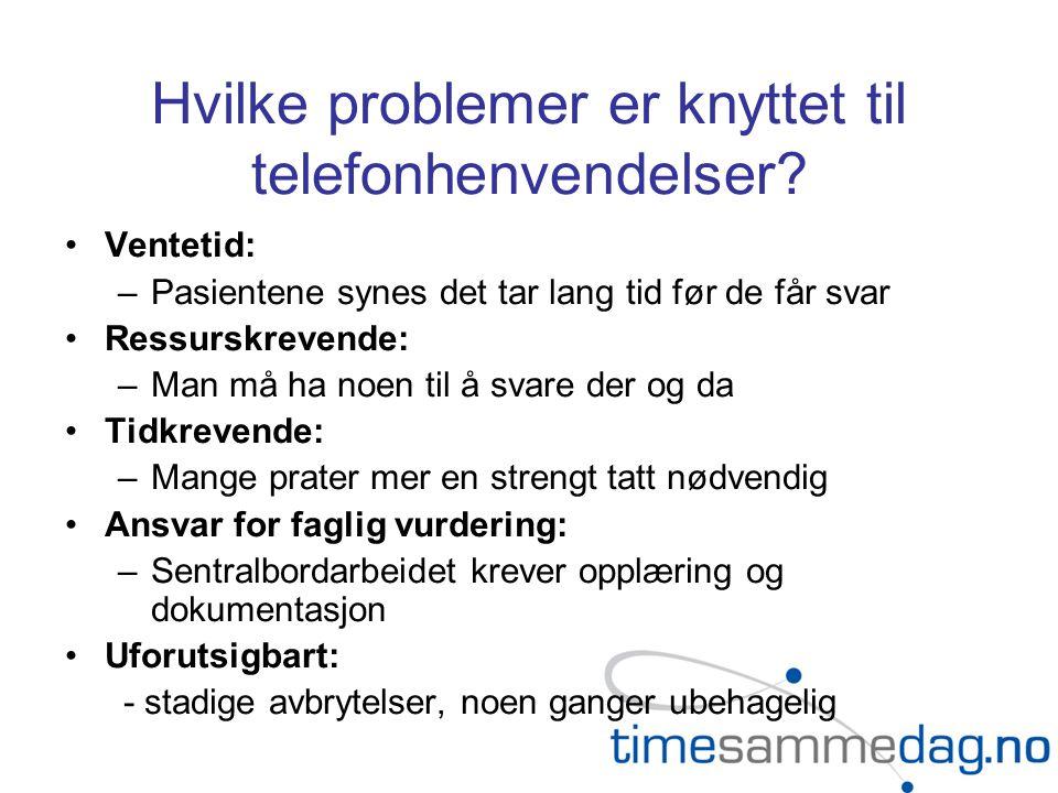 Hvilke problemer er knyttet til telefonhenvendelser? •Ventetid: –Pasientene synes det tar lang tid før de får svar •Ressurskrevende: –Man må ha noen t