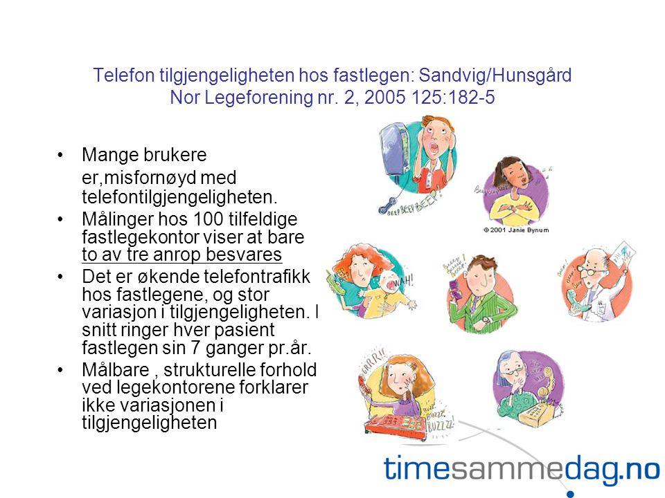 Telefon tilgjengeligheten hos fastlegen: Sandvig/Hunsgård Nor Legeforening nr. 2, 2005 125:182-5 •Mange brukere er,misfornøyd med telefontilgjengeligh