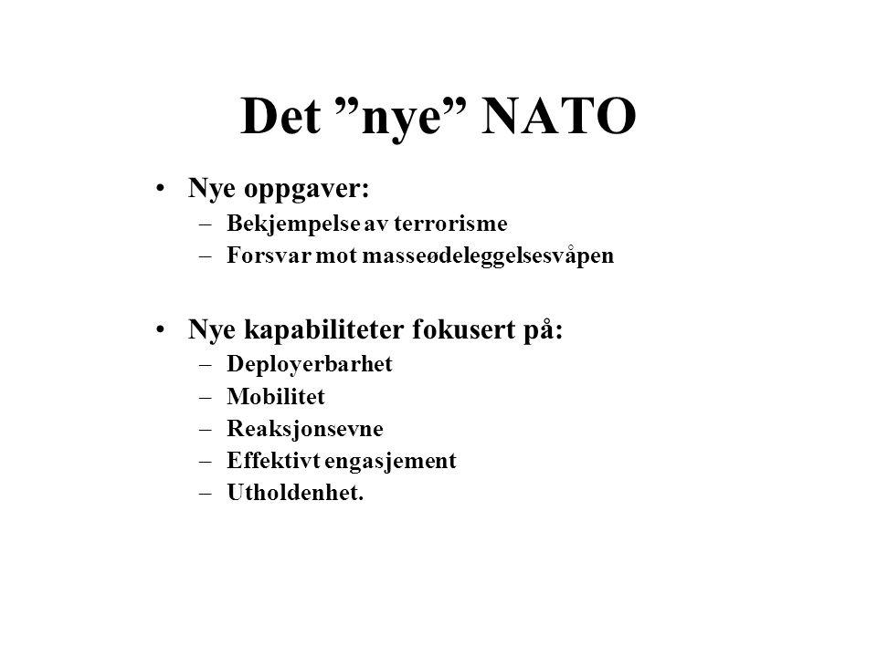 """Det """"nye"""" NATO •Nye oppgaver: –Bekjempelse av terrorisme –Forsvar mot masseødeleggelsesvåpen •Nye kapabiliteter fokusert på: –Deployerbarhet –Mobilite"""