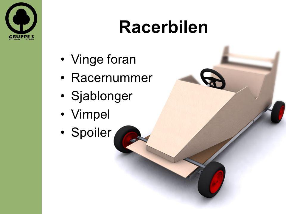 Racerbilen •Vinge foran •Racernummer •Sjablonger •Vimpel •Spoiler