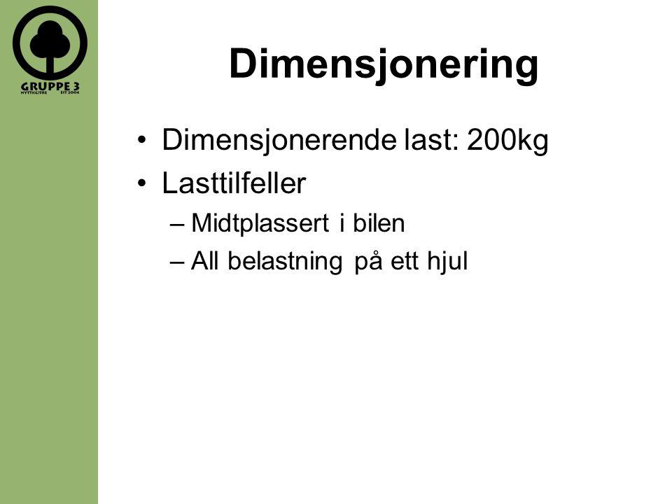 Dimensjonering •Dimensjonerende last: 200kg •Lasttilfeller –Midtplassert i bilen –All belastning på ett hjul
