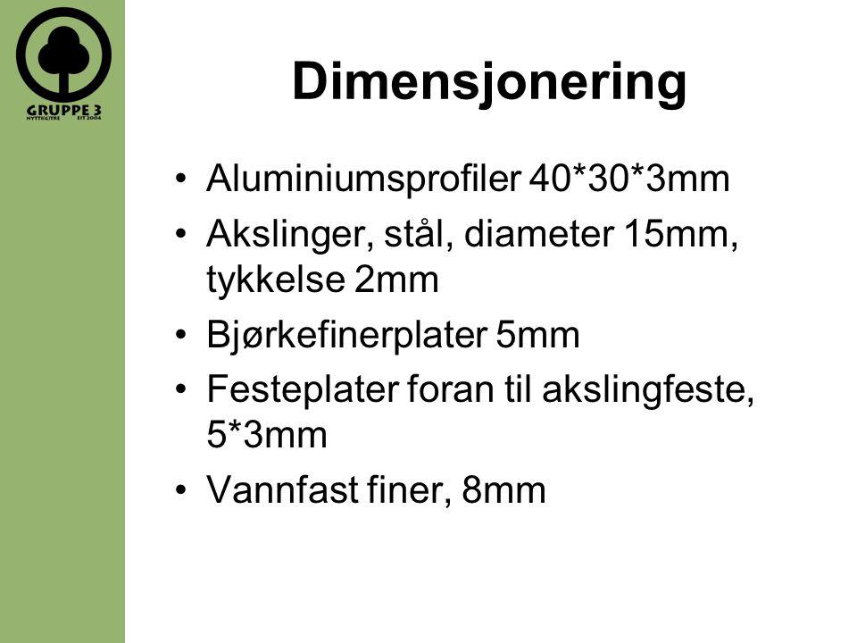 Dimensjonering •Aluminiumsprofiler 40*30*3mm •Akslinger, stål, diameter 15mm, tykkelse 2mm •Bjørkefinerplater 5mm •Festeplater foran til akslingfeste, 5*3mm •Vannfast finer, 8mm