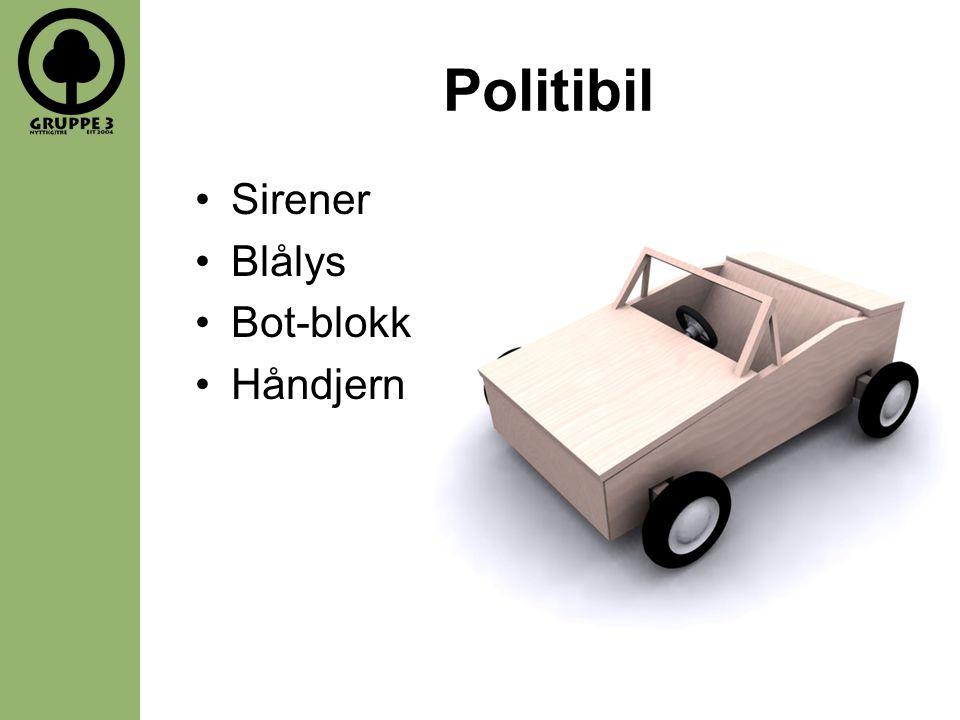 Politibil •Sirener •Blålys •Bot-blokk •Håndjern