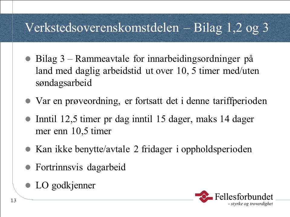 13 Verkstedsoverenskomstdelen – Bilag 1,2 og 3  Bilag 3 – Rammeavtale for innarbeidingsordninger på land med daglig arbeidstid ut over 10, 5 timer me
