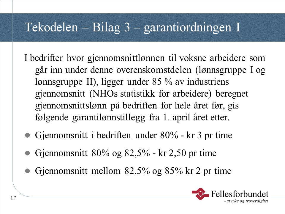 17 Tekodelen – Bilag 3 – garantiordningen I I bedrifter hvor gjennomsnittlønnen til voksne arbeidere som går inn under denne overenskomstdelen (lønnsg