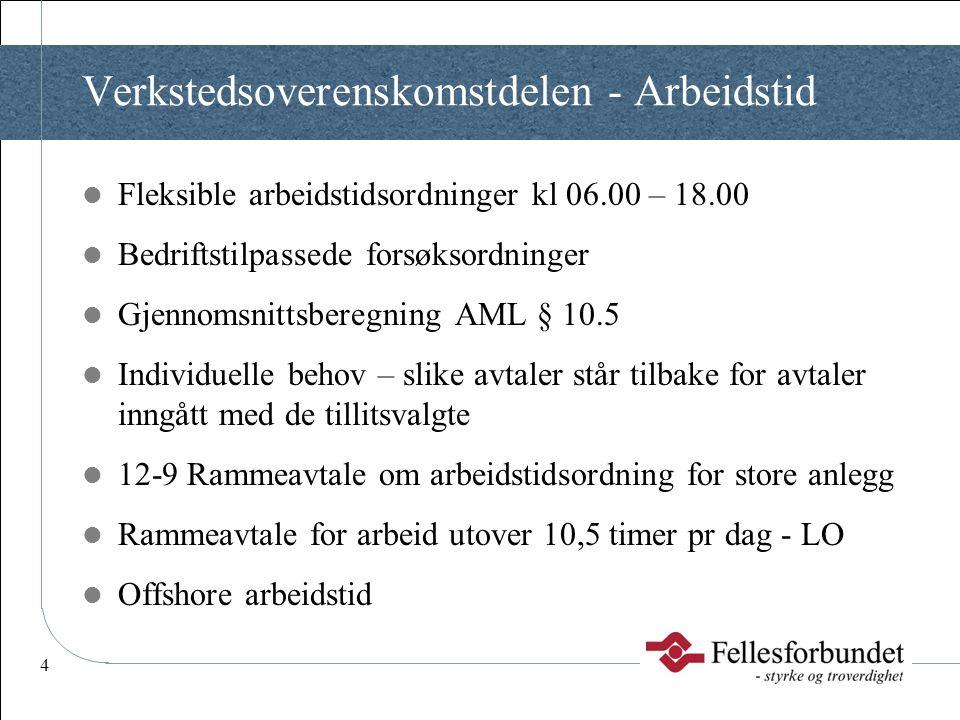 4 Verkstedsoverenskomstdelen - Arbeidstid  Fleksible arbeidstidsordninger kl 06.00 – 18.00  Bedriftstilpassede forsøksordninger  Gjennomsnittsbereg
