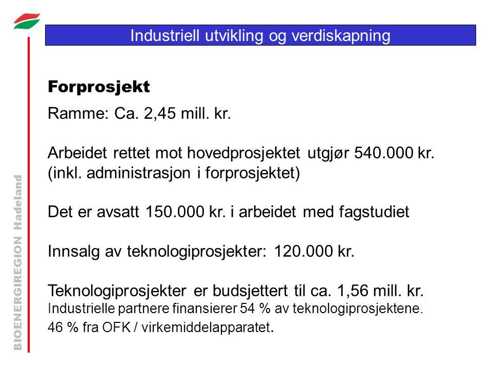 BIOENERGIREGION Hadeland Industriell utvikling og verdiskapning Forprosjekt Ramme: Ca. 2,45 mill. kr. Arbeidet rettet mot hovedprosjektet utgjør 540.0