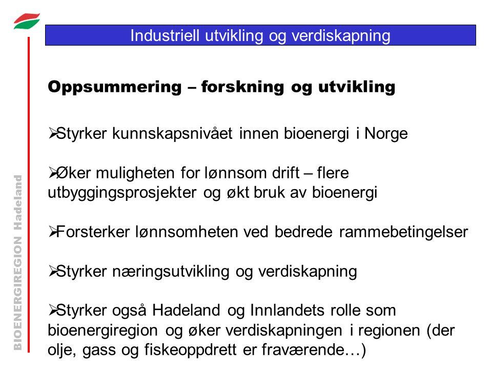BIOENERGIREGION Hadeland Industriell utvikling og verdiskapning Oppsummering – forskning og utvikling  Styrker kunnskapsnivået innen bioenergi i Norg