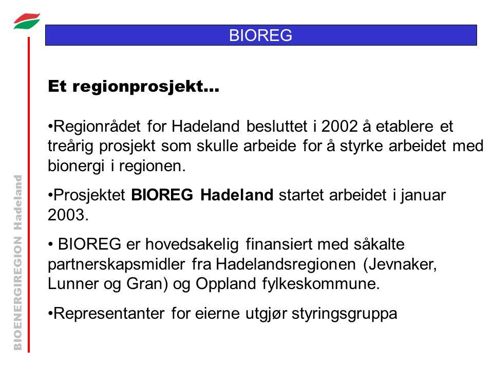 BIOENERGIREGION Hadeland BIOREG Et regionprosjekt… •Regionrådet for Hadeland besluttet i 2002 å etablere et treårig prosjekt som skulle arbeide for å styrke arbeidet med bionergi i regionen.