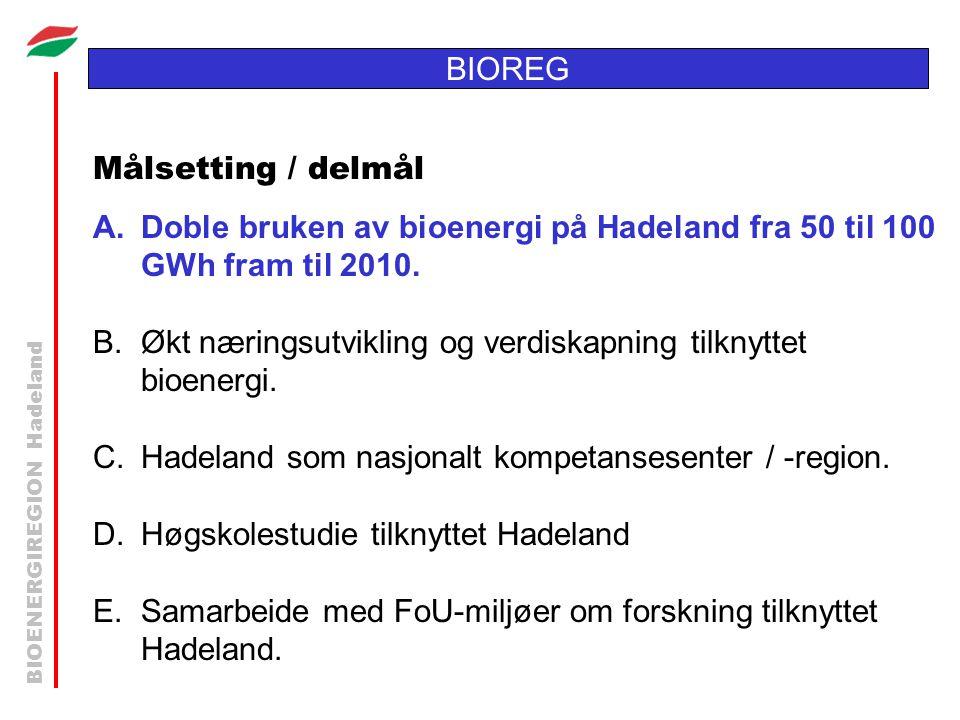 BIOENERGIREGION Hadeland BIOREG Målsetting / delmål A.Doble bruken av bioenergi på Hadeland fra 50 til 100 GWh fram til 2010. B.Økt næringsutvikling o