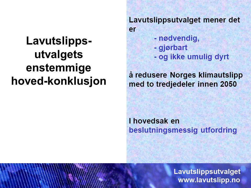 Lavutslippsutvalget mener det er - nødvendig, - gjørbart - og ikke umulig dyrt å redusere Norges klimautslipp med to tredjedeler innen 2050 I hovedsak en beslutningsmessig utfordring Lavutslipps- utvalgets enstemmige hoved-konklusjon
