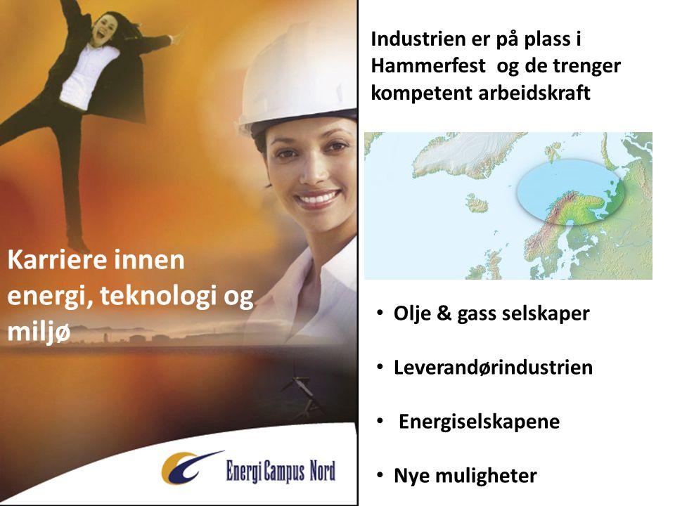 Karriere innen energi, teknologi og miljø • Olje & gass selskaper • Leverandørindustrien • Energiselskapene • Nye muligheter Industrien er på plass i Hammerfest og de trenger kompetent arbeidskraft
