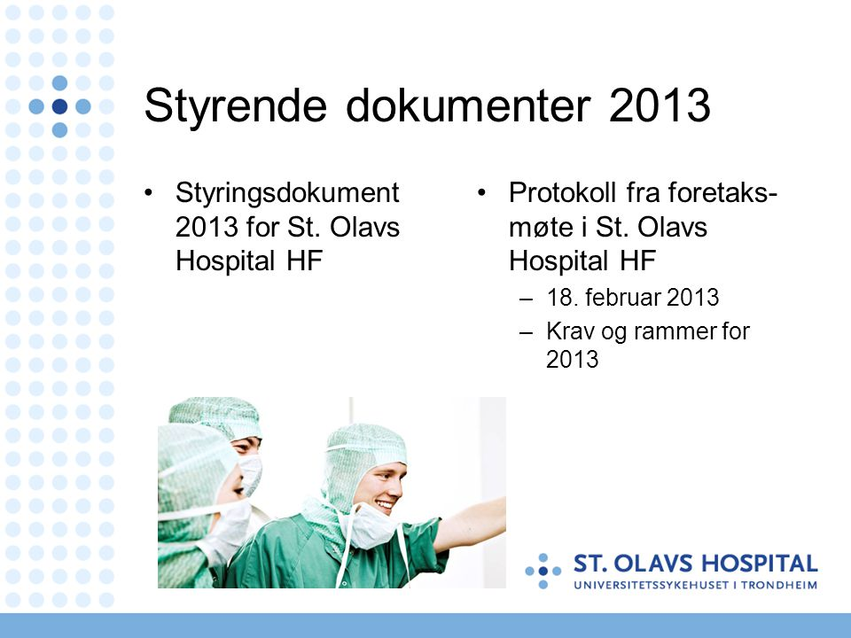 Styrende dokumenter 2013 •Styringsdokument 2013 for St.