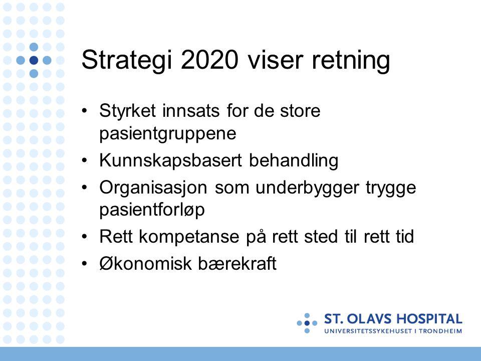 Strategi 2020 viser retning •Styrket innsats for de store pasientgruppene •Kunnskapsbasert behandling •Organisasjon som underbygger trygge pasientforløp •Rett kompetanse på rett sted til rett tid •Økonomisk bærekraft
