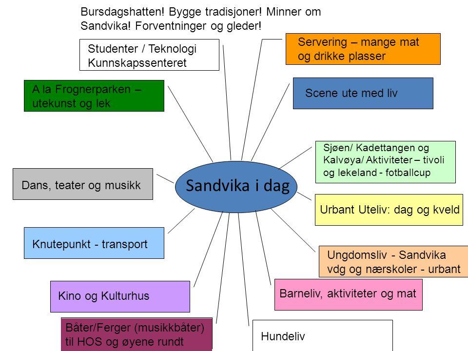 Sandvika i dag Scene ute med liv Sjøen/ Kadettangen og Kalvøya/ Aktiviteter – tivoli og lekeland - fotballcup Urbant Uteliv: dag og kveld Studenter /