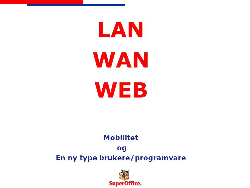 LAN WAN WEB Mobilitet og En ny type brukere/programvare