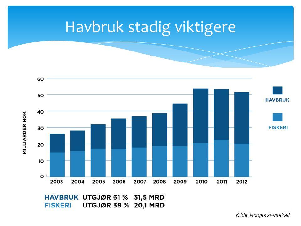 Havbruk stadig viktigere Kilde: Norges sjømatråd