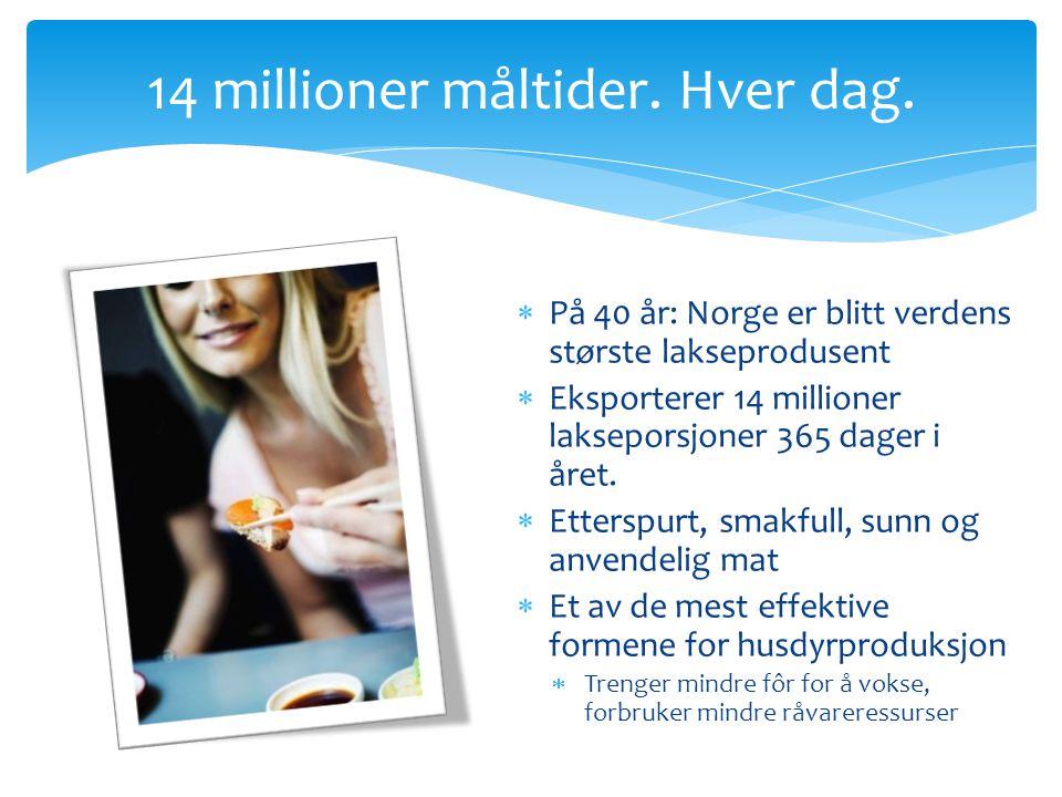 14 millioner måltider. Hver dag.  På 40 år: Norge er blitt verdens største lakseprodusent  Eksporterer 14 millioner lakseporsjoner 365 dager i året.