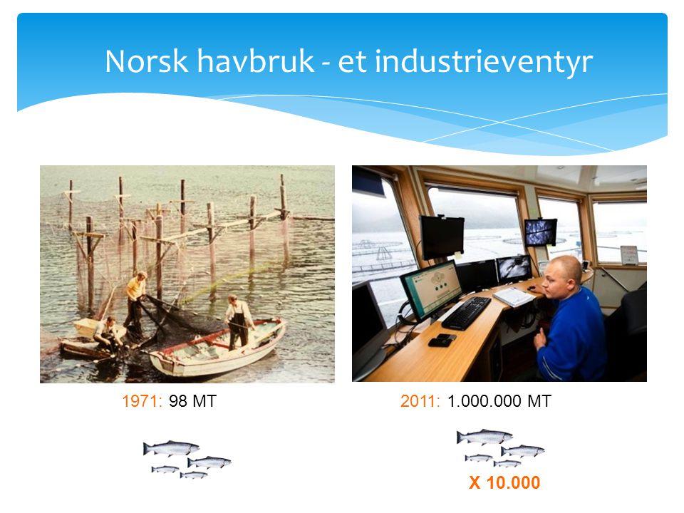 Norsk havbruk - et industrieventyr 1971: 98 MT2011: 1.000.000 MT X 10.000