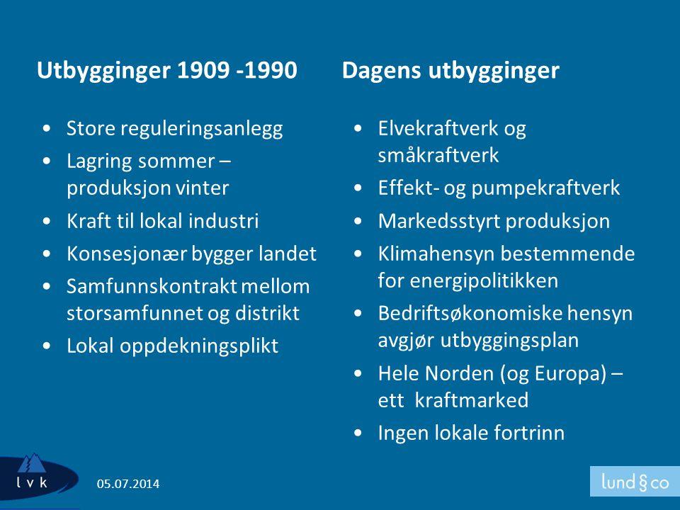 Utbygginger 1909 -1990 •Store reguleringsanlegg •Lagring sommer – produksjon vinter •Kraft til lokal industri •Konsesjonær bygger landet •Samfunnskont