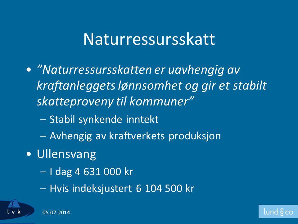 """Naturressursskatt •""""Naturressursskatten er uavhengig av kraftanleggets lønnsomhet og gir et stabilt skatteproveny til kommuner"""" –Stabil synkende innte"""