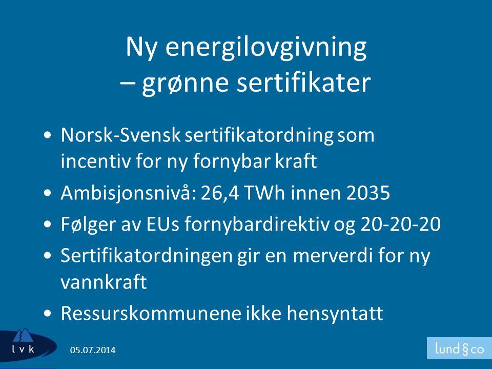 Ny energilovgivning – grønne sertifikater •Norsk-Svensk sertifikatordning som incentiv for ny fornybar kraft •Ambisjonsnivå: 26,4 TWh innen 2035 •Følg
