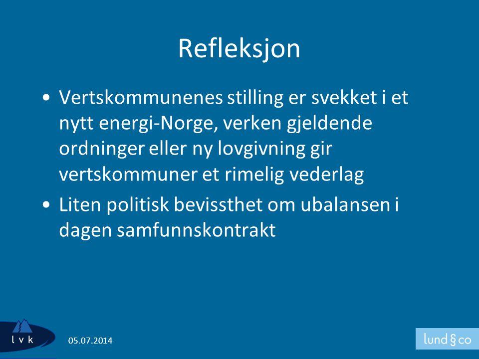 Refleksjon •Vertskommunenes stilling er svekket i et nytt energi-Norge, verken gjeldende ordninger eller ny lovgivning gir vertskommuner et rimelig ve