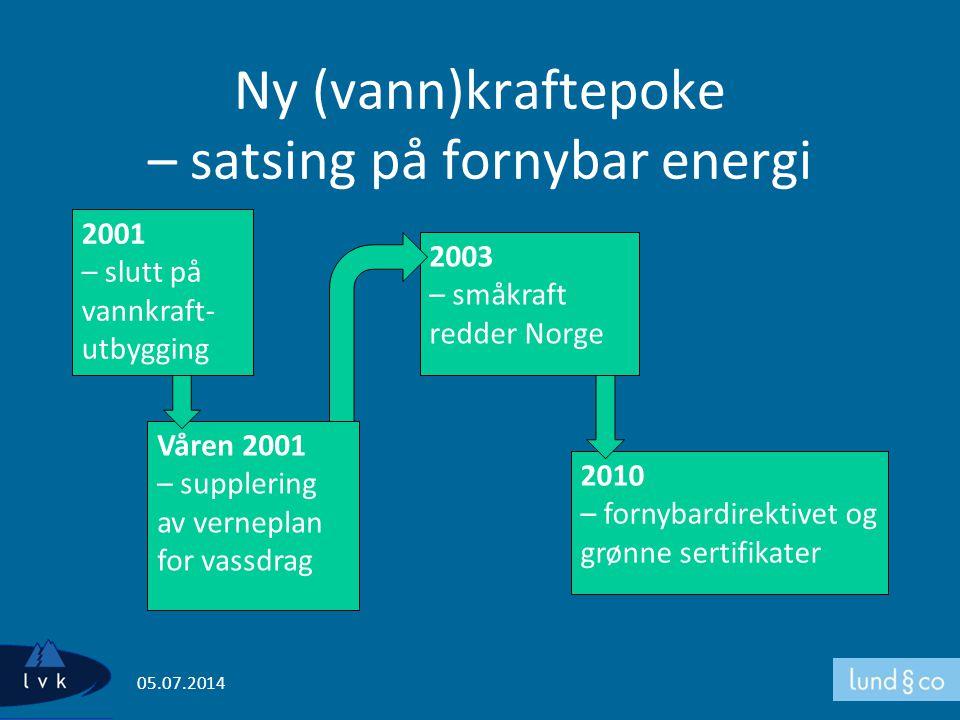 Ny (vann)kraftepoke – satsing på fornybar energi 05.07.2014 2001 – slutt på vannkraft- utbygging 2003 – småkraft redder Norge 2010 – fornybardirektive