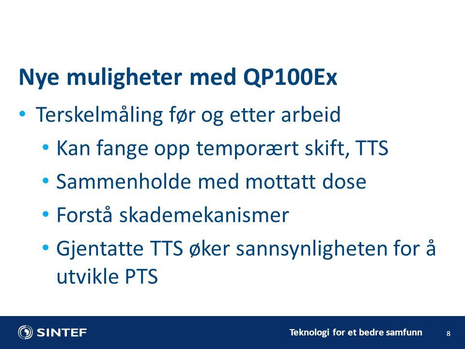 Teknologi for et bedre samfunn • Terskelmåling før og etter arbeid • Kan fange opp temporært skift, TTS • Sammenholde med mottatt dose • Forstå skademekanismer • Gjentatte TTS øker sannsynligheten for å utvikle PTS 8 Nye muligheter med QP100Ex