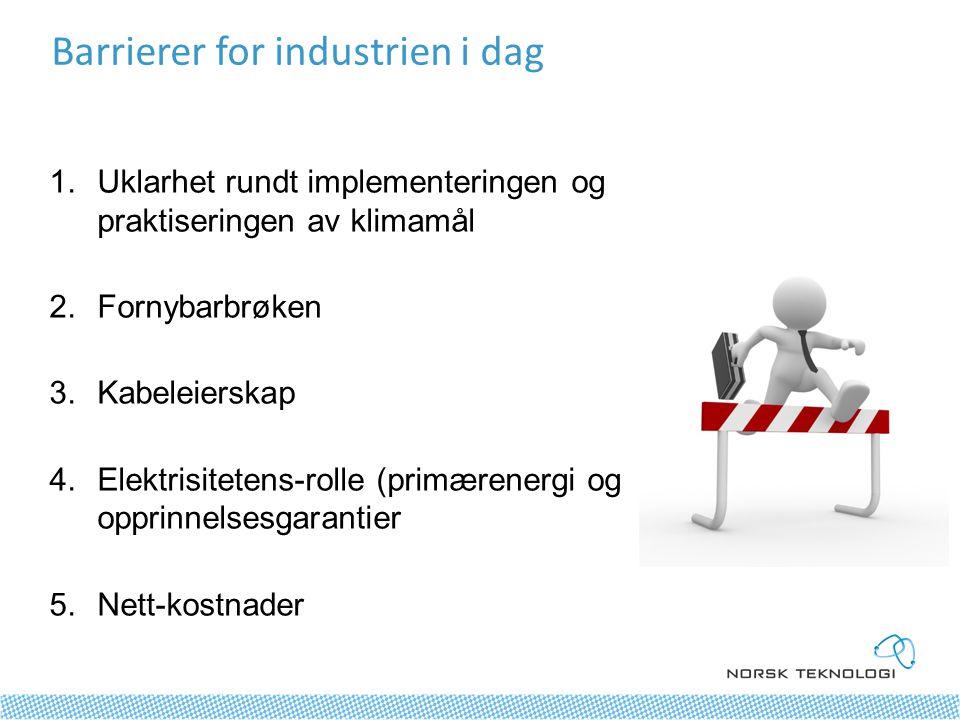 1.Uklarhet rundt implementeringen og praktiseringen av klimamål 2.Fornybarbrøken 3.Kabeleierskap 4.Elektrisitetens-rolle (primærenergi og opprinnelsesgarantier 5.Nett-kostnader Barrierer for industrien i dag