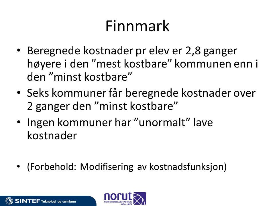 """Teknologi og samfunn Finnmark • Beregnede kostnader pr elev er 2,8 ganger høyere i den """"mest kostbare"""" kommunen enn i den """"minst kostbare"""" • Seks komm"""