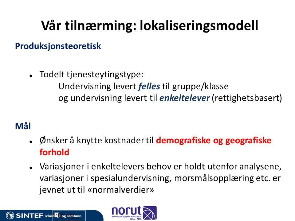 Transportkostnader i modellen: Faktiske (marginale) kostnader.
