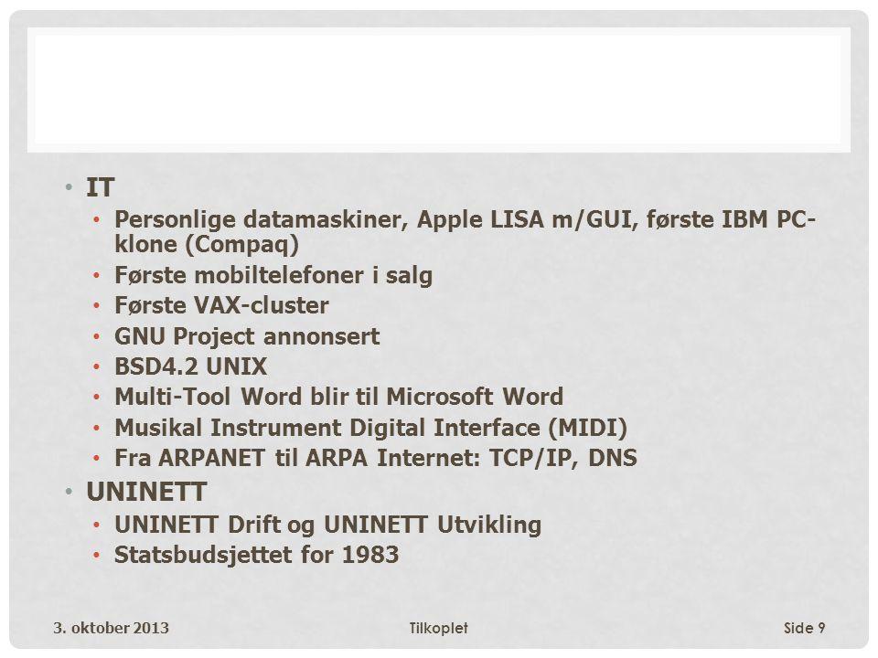 • IT • Personlige datamaskiner, Apple LISA m/GUI, første IBM PC- klone (Compaq) • Første mobiltelefoner i salg • Første VAX-cluster • GNU Project annonsert • BSD4.2 UNIX • Multi-Tool Word blir til Microsoft Word • Musikal Instrument Digital Interface (MIDI) • Fra ARPANET til ARPA Internet: TCP/IP, DNS • UNINETT • UNINETT Drift og UNINETT Utvikling • Statsbudsjettet for 1983 3.
