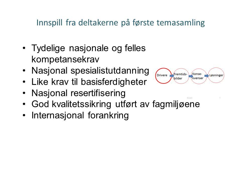 Innspill fra deltakerne på første temasamling Temasamling 271112 Irene Sørås •Tydelige nasjonale og felles kompetansekrav •Nasjonal spesialistutdannin