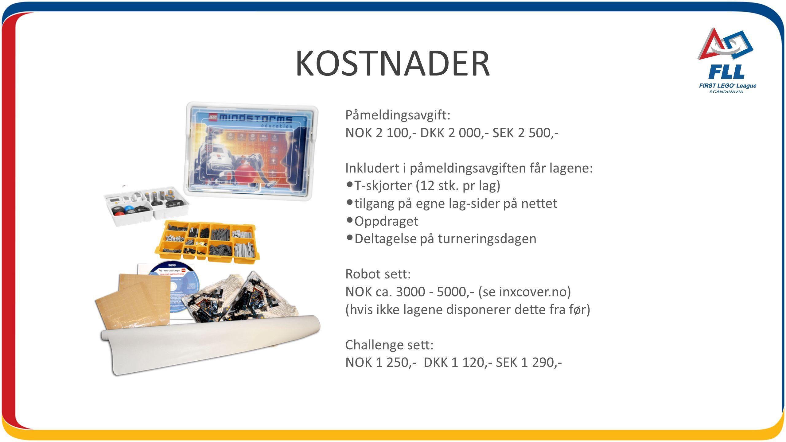 KOSTNADER Påmeldingsavgift: NOK 2 100,- DKK 2 000,- SEK 2 500,- Inkludert i påmeldingsavgiften får lagene: • T-skjorter (12 stk.