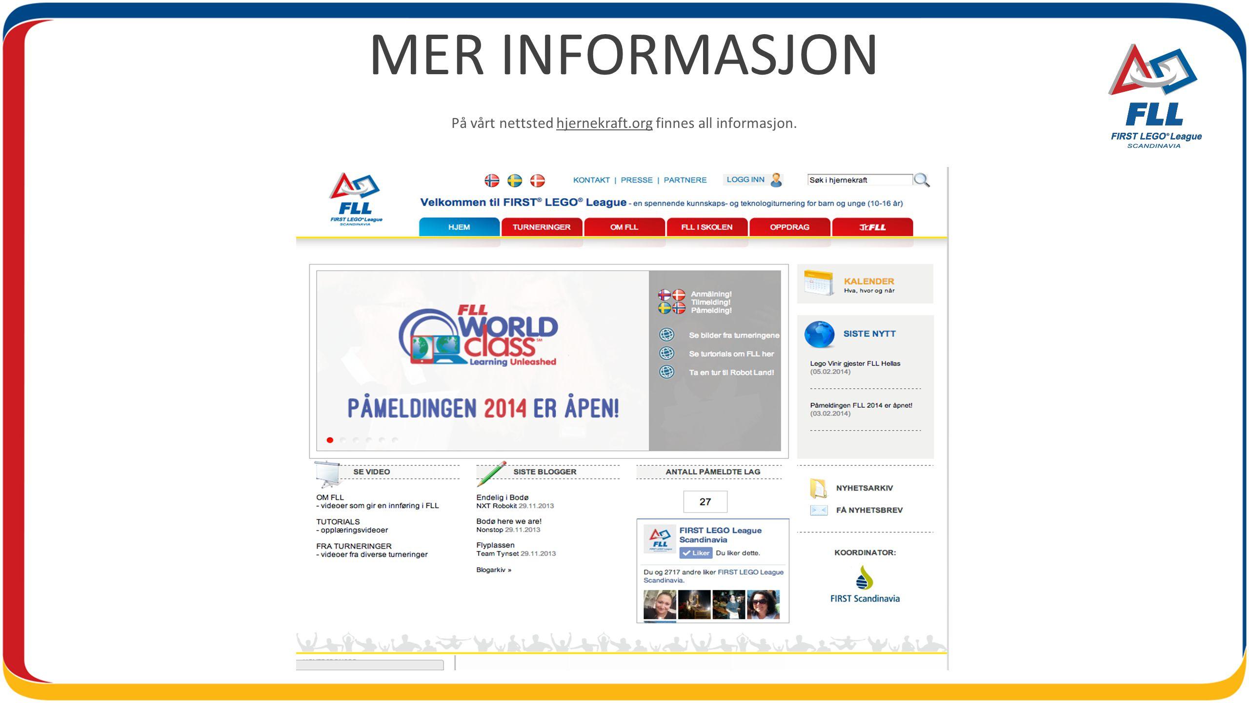 MER INFORMASJON På vårt nettsted hjernekraft.org finnes all informasjon.