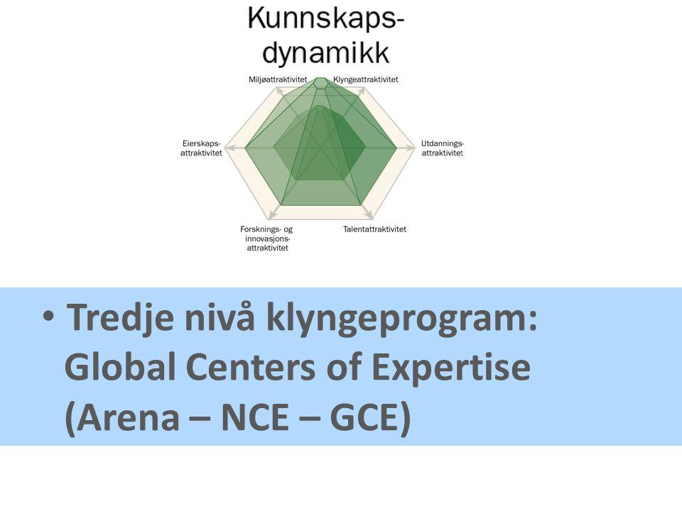 • Tredje nivå klyngeprogram: Global Centers of Expertise (Arena – NCE – GCE)