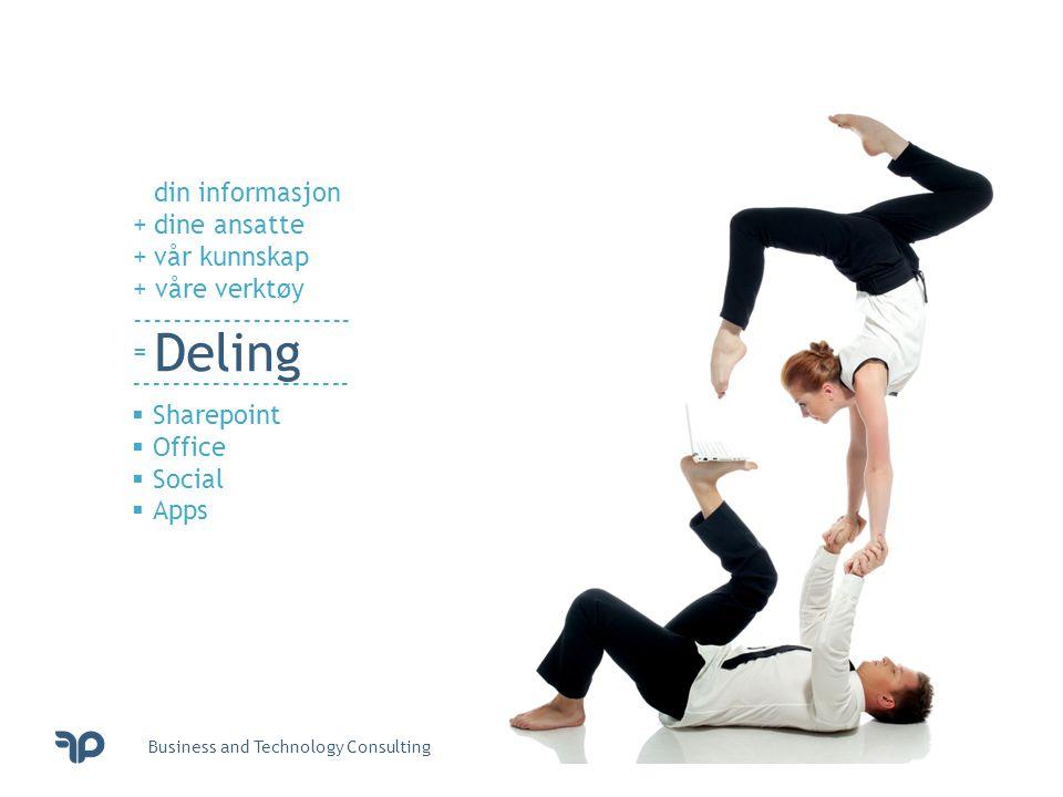 Business and Technology Consulting din informasjon +dine ansatte +vår kunnskap + våre verktøy ---------------------- = Deling ----------------------  Sharepoint  Office  Social  Apps