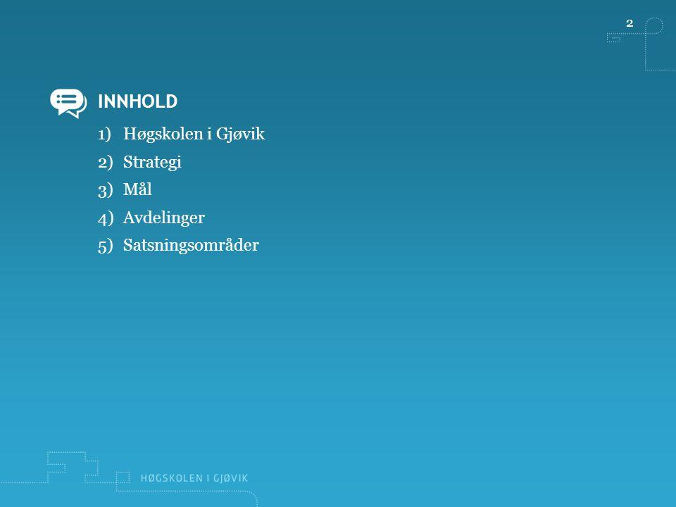 INNHOLD 2 1)Høgskolen i Gjøvik 2)Strategi 3)Mål 4)Avdelinger 5)Satsningsområder