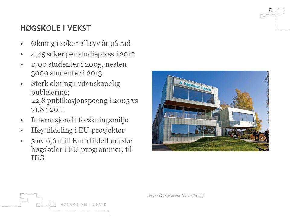 5 HØGSKOLE I VEKST •Økning i søkertall syv år på rad •4,45 søker per studieplass i 2012 •1700 studenter i 2005, nesten 3000 studenter i 2013 •Sterk økning i vitenskapelig publisering; 22,8 publikasjonspoeng i 2005 vs 71,8 i 2011 •Internasjonalt forskningsmiljø •Høy tildeling i EU-prosjekter •3 av 6,6 mill Euro tildelt norske høgskoler i EU-programmer, til HiG Foto: Oda Hveem (visuello.no)