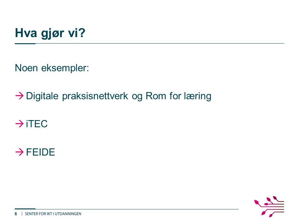 Hva gjør vi Noen eksempler:  Digitale praksisnettverk og Rom for læring  iTEC  FEIDE 6