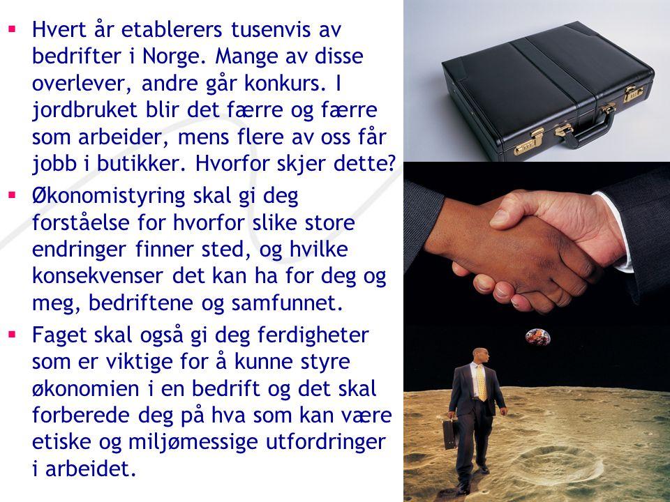  Hvert år etablerers tusenvis av bedrifter i Norge. Mange av disse overlever, andre går konkurs. I jordbruket blir det færre og færre som arbeider, m